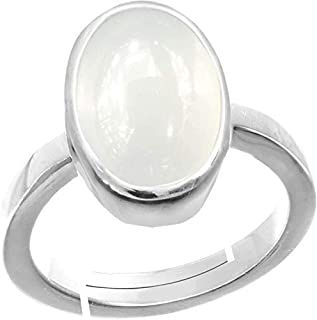 CLARA Certified Moonstone 8.3cts or 9.25ratti original stone Sterling Silver Astrological Ring for Men and Women