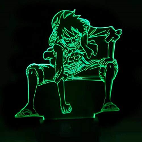 Lámpara De Ilusión 3D Led Night Light Anime One Piece Luffy Lámpara De Mesa Usb 7 Cambio De Color Niños Iluminación Para Dormir Para Niño Regalo De Cumpleaños