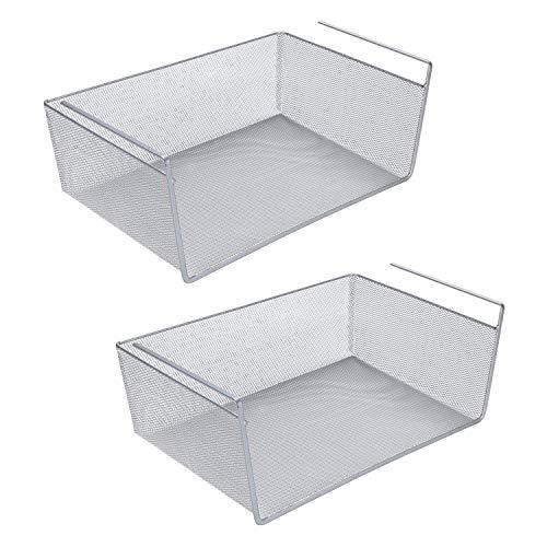LaCyan - Cestas para debajo del estante de acero inoxidable de malla fina para armarios de cocina L-2pcs