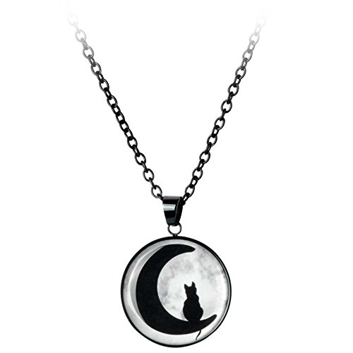 Mysterium® Moonlight Cat Frauen Halskette Standard Edelstahl Casual Wear, Gothic