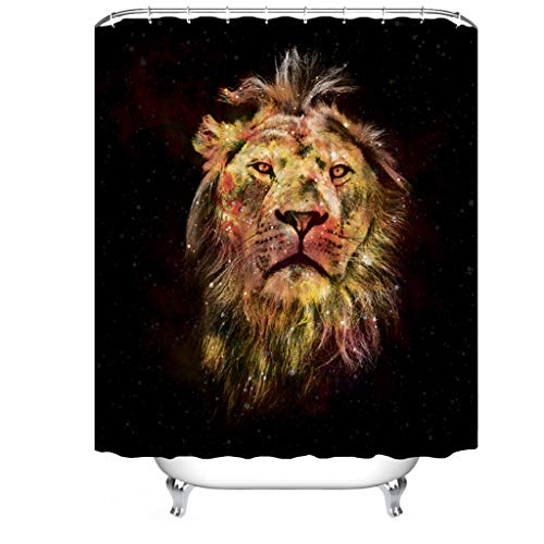 Cheerhunting Duschvorhang mit Löwen-Motiv, Tiermotiv, goldfarben, Stoff-Baddekor-Set mit Haken, 72 W x 72 H wasserdicht, Schwarz / Gold