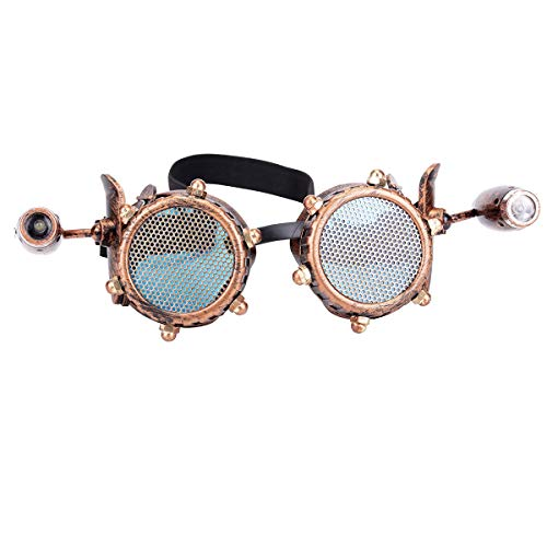 Materials:ABS Frames + Barbed Wire + PC Lens. Unique Design:The frames decorated with spike, screws decorated,and the lens covers design with hollow out flower pattern or barbed wire, which makes a vintage feeling. A necessary accessory for Steampunk...