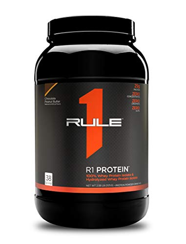 Rule One Proteins, R1 Protein - Chocolate Peanut Butter, 25g Fast-Acting, Super-Pure 100% Isolate and Hydrolysate Protein Powder with 6g BCAAs for Muscle Growth and Recovery, 2.5 Pounds, 38 Servings