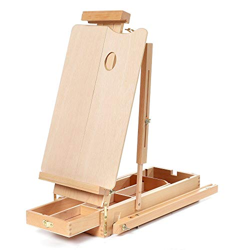 BESTSOON Drawing Easel Wood Portable Painting Box Sketching Oil Paint Easel Box Multifunctional Painting Suitcase Art Supplies With Drawer Students Studio Easel