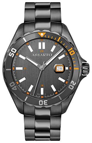 ASSARTO® Watches ASH-9324GR/B-GRE Seapearl-Star Series Taucheruhr Herren Edelstahl Armbanduhr Herrenuhr Titan-Grey Uhr mit Schweizer Uhrwerk
