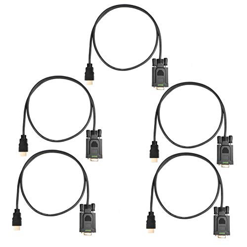 HDMI to VGA Cable 6FT 5-Pack, Un-bidirectional Computer HDMI to VGA Monitor Video Cord (Male to Male) Compatible for Raspberry Pi, Roku,Computer, Desktop, Laptop, PC, Monitor, Projector, HDTV and More