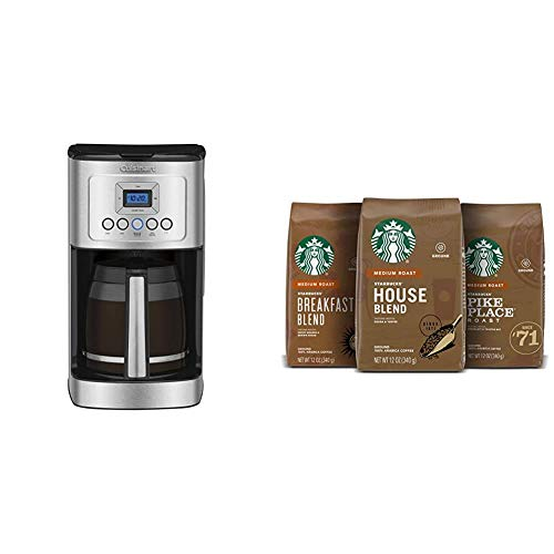 Cuisinart DCC-3200P1 Perfectemp Coffee Maker, 14 Cup Progammable with Glass Carafe, Stainless Steel & Starbucks Medium Roast Ground Coffee -; Variety Pack -; 100% Arabica -; 3 bags (12 oz. each)