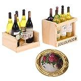 SM SunniMix Botellas de Vino en Miniatura de Casa de Muñecas Hechas a Mano 1/12 Y Decoración de Pintura Mural de Pared