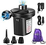 Rongyuxuan Electric Air Pump for Inflatables, 2 in 1 Portable Quick-Fill Air Pump,110V AC & 12V DC Inflator Deflator for Air Mattress, Swimming Rings, Airbeds, Water Toys, with 3Nozzles,Storage Bag