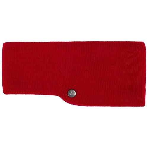 Lierys Fascia copriorecchie Fine Merino Donna/Uomo (larghezza 7,5-10 cm) - Made in Germany - fascia in maglia a tre strati in merino - Internamente in cotone - Taglia unica 53-60 cm rosso Taglia unica