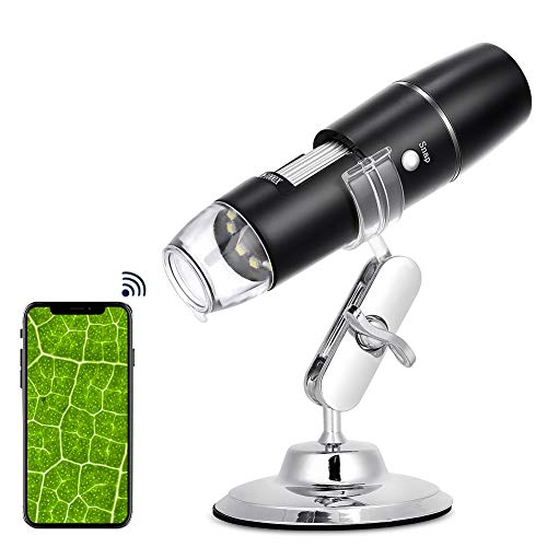 Digital Microscope 50X to 1000X, USB WiFi Microscope Wireless Digital Mini Handheld Endoscope Inspection Camera with 8 Adjustable LED Lights, Compatible with Android, iOS Phone, iPad