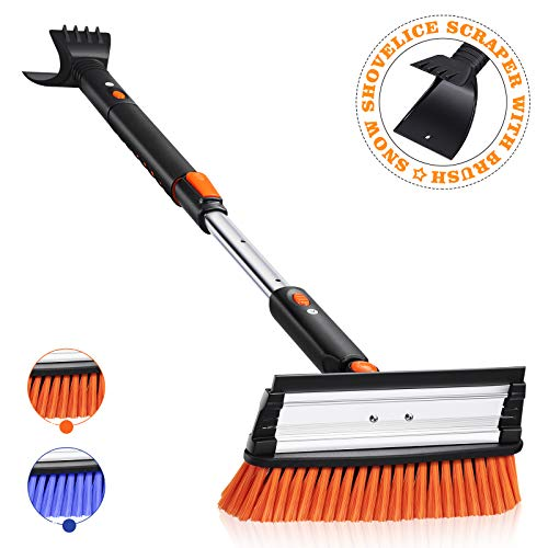 MOVTOTOP 39'' Telescoping Snow Brush and Ice Scraper with Foam Grip, Extendable Snow Scraper with Brush, 270°Pivoting Head Snow Removal Brush for Car Truck SUV Windshield (Orange)