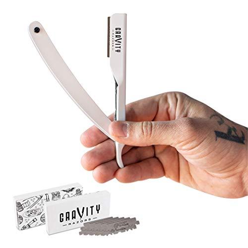 Barber Straight Razor - Stainless Steel Straight Edge Razor with 10 Derby Premium Blades (White)