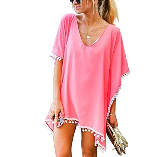 JMITHA Damen Strandponcho Sommer Strandkleid Sommerkleid Bikini Badeanzug Cover Up (One Size(XS-2XL), Rosa(solid Pom))