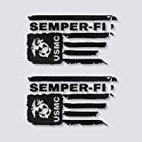 Distressed USMC United States Marine Corps Flag SEMPER-FI Vinyl Decal Veteran Sticker Car Truck Bumper Window Laptop Army US (Black)