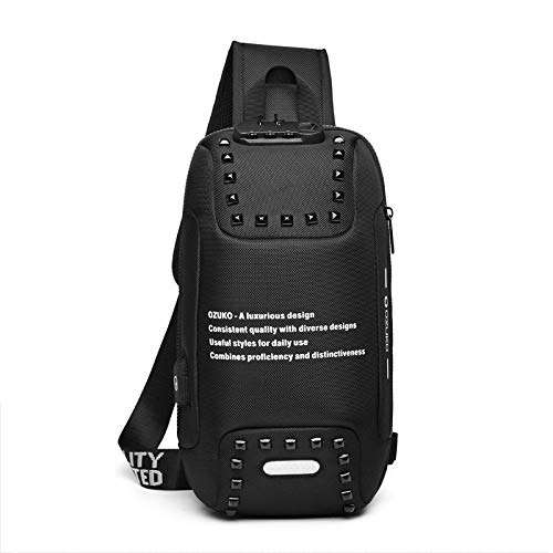 CMZ Backpack Men's Shoulder Bag Messenger Bag USB Outdoor Anti-Theft Chest Bag Waterproof Oxford Cloth Men's Small Backpack
