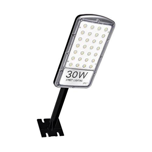Ankishi,LED Straßenlaterne, 30W Straßenlampe,3000LM Aussenleuchte Mastleuchte Lampe Hofbeleuchtung,IP67,Kühles Weiß 6000K Wegeleuchten Sicherheits Wand Licht Parkplätze im Licht