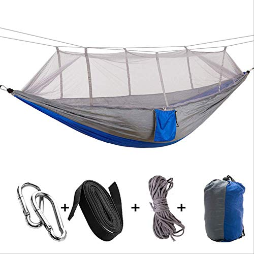 Winter tent 1-2 Person Portable Outdoor Camping Hammock with Mosquito Net High Strength Parachute Fabric Hanging Bed Hunting Sleeping Swing Gray Blue