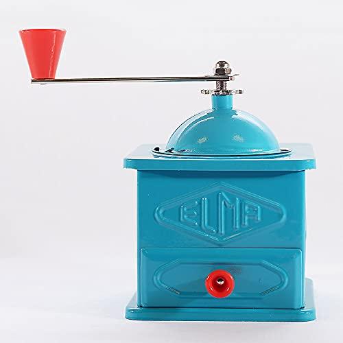 ELMA-Molinillo de chapa azul de uso decorativo , Molino de café manual, estilo vintage. Fabricación española, regalo ideal para amantes del café