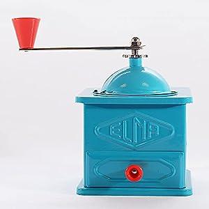 ELMA-Molinillo de chapa azul de uso decorativo , Molino de café manual decorativo, estilo vintage. Fabricación española, regalo ideal para amantes del café