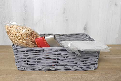 HomeZone Make Your Own Hamper Set Basket & Accessory Kits Natural Wicker Basket Hamper Kit Christmas Birthday Celebration New Baby Raffle Gift (Grey Basket)
