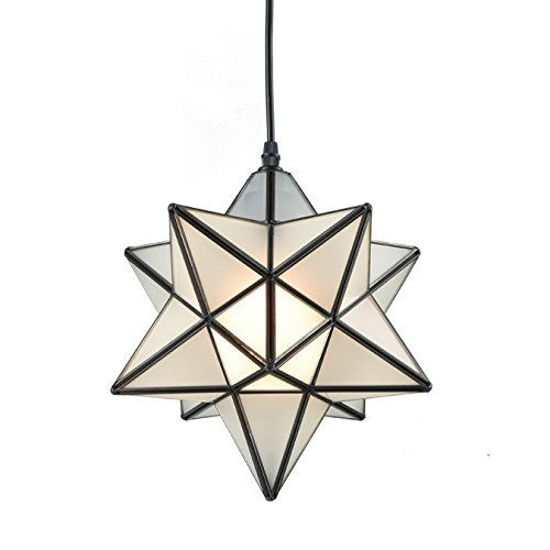 YOBO Lighting Star 1 Light Frosted Glass Pendant Kitchen...