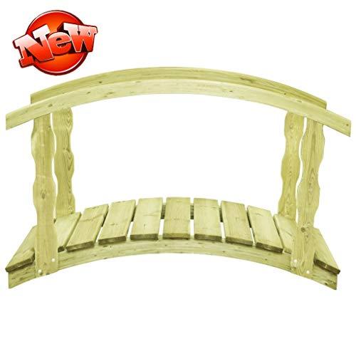 LONCQKAYS Neueste Version & Stärker Massivholz Teichbrücke mit Geländer, Gewölbt Gartenbrücke, Rustikal Zierbrücke, Begehbar Holzbrücke Holzsteg Brücke Hinterhof-Brücke Deko (Belastbar bis 150 kg)