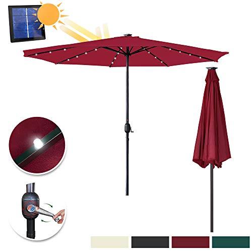 Aufun Sonnenschirm mit LED Ø350 cm Gartenschirm mit Handkurbel aus Polyester Sonnenschutz UV-Schutz 40+, Terrassenschirm für Balkon, Terrasse & Garten, Rund, 8 Streben, 32LEDs, Rot