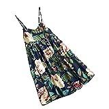 URIBAKY - Vestido sin mangas para mujer, de algodón y lino con estampado floral azul marino L