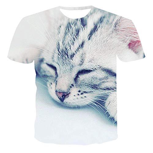 HUITAILANG Camisetas Hombre Gráfico 3D, Camisetas Divertidas, Lindo Gato, Manga Corta, Talla Grande, Suelto, para Dormir, Grande