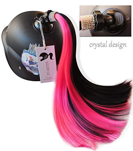 3T-SISTER Crystal Helmet Pigtails 14inch Helmet Ponytail Decoration for Motorcycle Bicycle Ski Helmet Accessories Reusable Suction Cup Rhinestone Design (Black and Pink Color)
