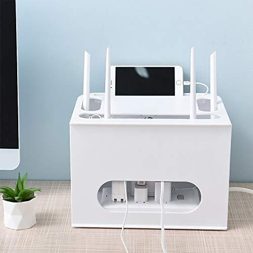 Productos domésticos MMGZ Cajón Tipo bandejas Gratuito de perforación de TV Top Box Rack Router WiFi Caja de Almacenamiento (Gris) (Color : White)