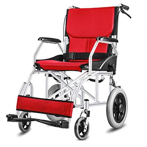 ZHAS Licht-Pflicht-Reisen Kleine Rollstühle, ältere behinderte Menschen Push The Roller, Rollstühle ältere Faltbare, Geeignet für Behinderte und ältere Menschen, Rot