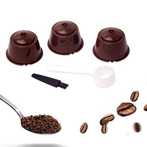 Cápsula de café reutilizable con taza de filtro de malla compatible con máquina Dolce Gusto cápsulas de filtro recargables con cuchara de plástico y cepillo de limpieza