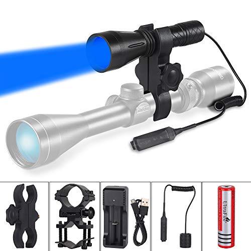 ULTRAFIRE Linterna Táctica Caza Luz Azul 470 nm 256 Yardas Blu-ray con Batería Recargable 18650 3,7 V 2600 mAh, Cargador USB, Interruptor Remoto, Soporte Montaje, Linterna LED Vision Nocturna H-B4