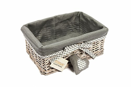 Woodluv Grey Wicker Storage Geschenkkorb Regal Korb mit Futter, Medium