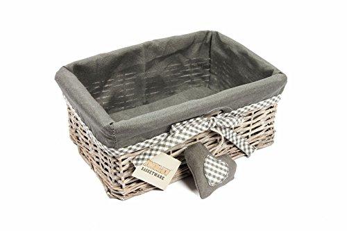 Woodluv, cesti grigi in vimini con fodera per pacchi regalo, dimensione media