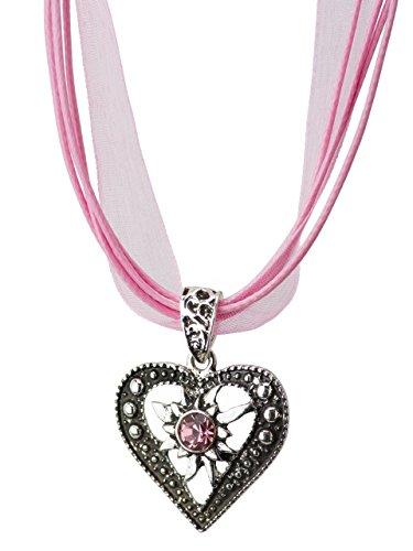 Trachtenkette Herzstein eleganter Herz Anhänger mit funkelndem Strass - Trachtenschmuck Kette für Dirndl und Lederhose (Rosa)