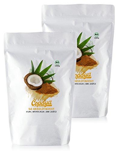 Copaya Bio Kokosblütenzucker 2000g, Kokoszucker, Idealer Zuckerersatz, Premium Qualität ohne Zusätze, Vorratspackung (2x1000g)