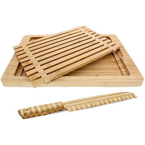 Bamboo Home Life Bread Board - Large Slotted Cutting Board With Crumb Catcher and Bamboo Knife - Great Gift - 15.25 Inches By 10.25 Inches