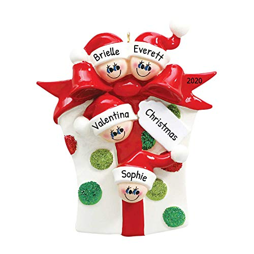 Personalized Glitter Gift Family of 4 Christmas Tree Ornament 2020 - Opening Present Parent Children Unpack Tradition Ribbon Box Grand-Kids Cousins Sibling Friend Year Polka Dot - Free Customization