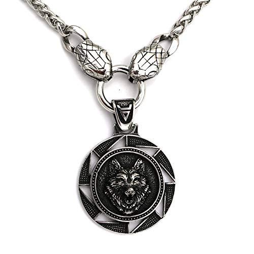 Pesado Collar Lobo Nórdico, Los Hombres de Acero Inoxidable Sólido Fenrir Lobo Cabeza Colgante Collares de Serpiente Rey de la Joyería Vikinga Amuleto,70cm