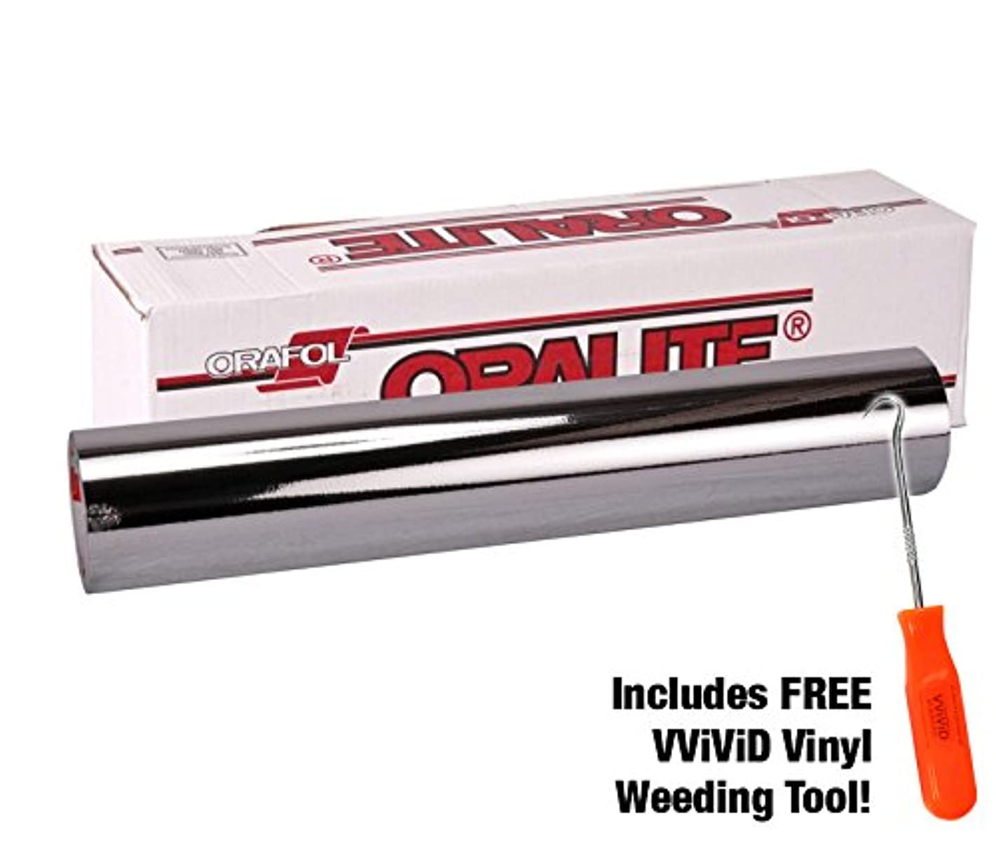 ORACAL 351 Silver Mirror Chrome Vinyl for Silhouette, Cameo & Cricut Including Stainless Steel Weeding Tool (30ft x 12
