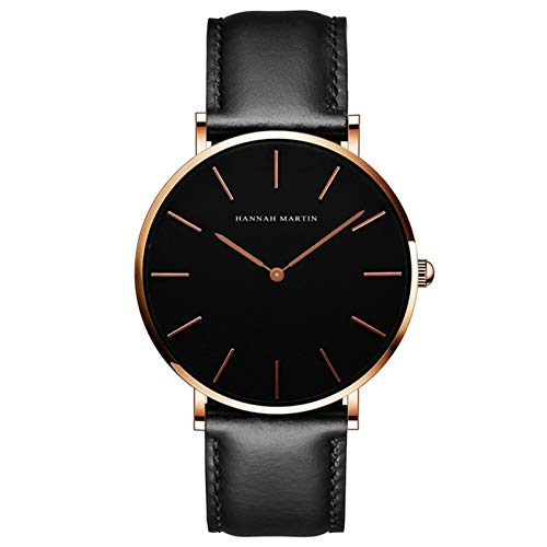 YQCH Reloj de Cuarzo para Hombres Negro Minimalista Analógico Ultra Delgado Reloj de Cintura Delgada Estilo Simple Banda de Malla de Acero Inoxidable (Color : C)