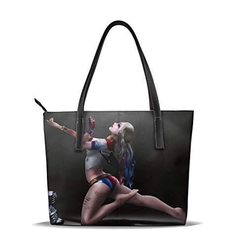 Clown Girl Halle Quinn Einkaufstasche Für Frauen Leder Reißverschluss Handtaschen, Big Caity Wasserdicht Langlebig Innen 1 Reißverschluss Poet Geeignet