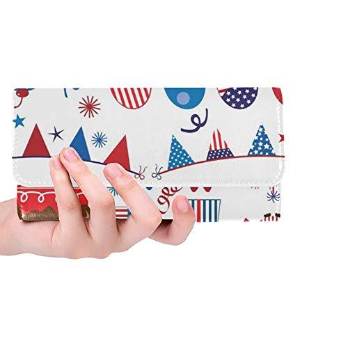Einzigartige benutzerdefinierte vierten Juli patriotische Eulen Party Set Frauen Trifold Wallet Lange Geldbörse Kreditkarteninhaber Fall Handtasche