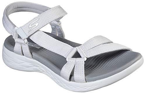 Skechers Women's On-The-Go 600-Brilliancy Sport Sandal, White/Grey, 10 M US