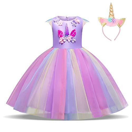 NNJXD Ragazza Unicorno Ruffles Fiori Festa Cosplay Abito da Sposa Vestito della Principessa + Copricapo di Dimensione(120) 4-5 Anni Viola