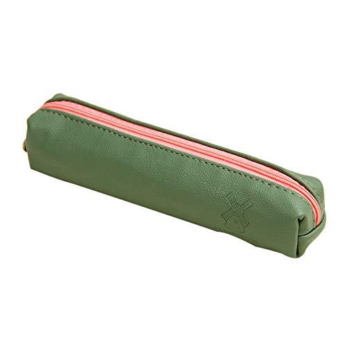 Qiuday PU-Leder Große Kapazität Federmäppchen Multifunktional Einfache Kosmetiktasche Aufbewahrung Make-up Tasche mit Reißverschluss Mäppchen Pencil Case Make-up Pinsel Taschen