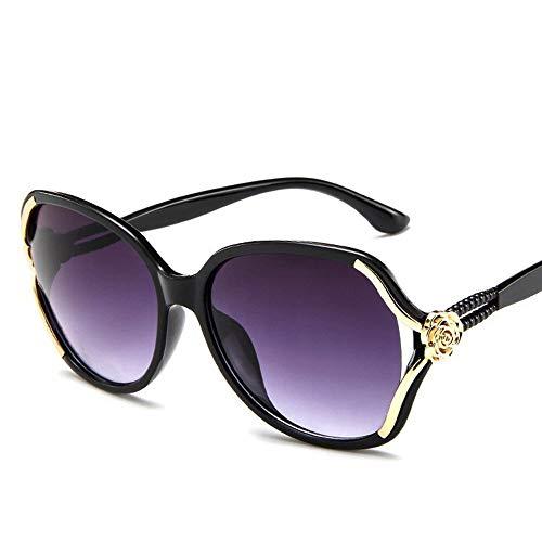 ShawnBlue , Las Nuevas señoras de Las Gafas de Sol, Gafas de Sol, Gafas de Sol Grandes de Flores de Personalidad Manera del Marco (Color : Bright Black Ash Flakes)